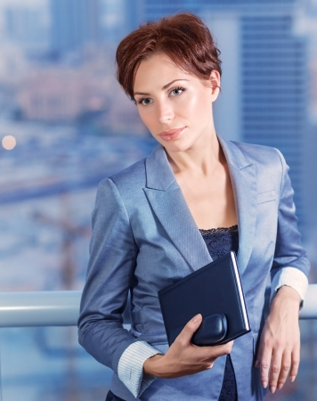 vp: Businesswoman on the meeting, attractive serious female waiting for a business partners, big boss in financial corporation, good job concept