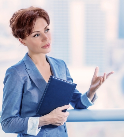 vp: Closeup portrait of intelligent young business woman making deal, successful female at work, CEO of great company, success concept