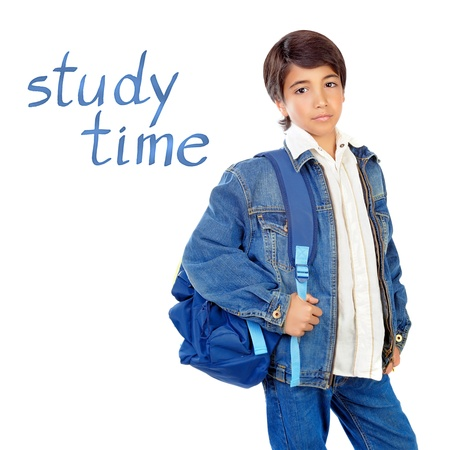 arab teen: Portrait of pretty schoolboy with backpack isolated on white background, study time, pupil lifestyle, back to school, knowledge and education concept