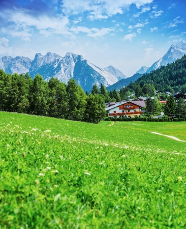 Beautiful green valley in the mountains, Seefeld, Austrian town, Alp, hiking in the Europe, picturesque landscape, travel and tourism concept  photo