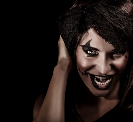 aggresive: Closeup portrait of creepy vampire woman yelling, terrifying facial expression, open mouth, aggresive makeup, Halloween carnival concept
