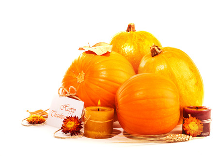 Happy Thanksgiving holiday, traditional gourd decoration isolated on white background, festive postcard, autumnal harvest season photo