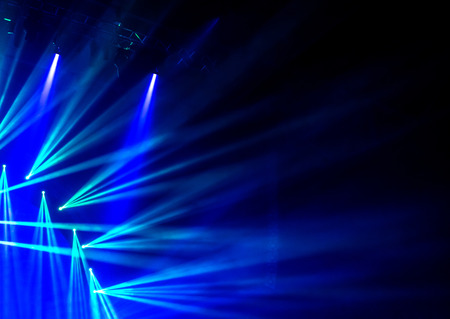 club scene: Blue stage light, abstract background, illuminated dance club, night performance, laser illumination, luxury rock concert projector