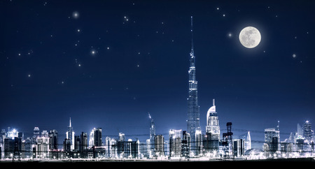 moonlit: Dubai night cityscape, full moon, UAE, Burj Khalifa, modern architecture, expensive city exterior, luxury travel and tourism concept