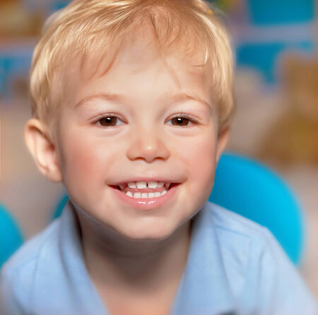 sweet tooth: Closeup portrait of cute little smiling boy, have fun, healthy teeth, happy childhood, adorable child with sweet smile