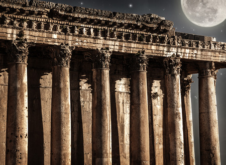 heliopolis: Baalbeck castle in the night