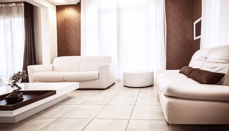 pouf: Luxury apartment design, white leather couch, luxurious table, brown decoration, stylish living room