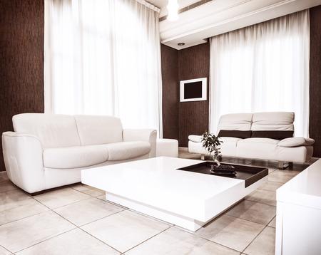 Stilvoll Wohnung Braun ~ Luxus wohnung design weißen leder couch luxuriöse tisch braun