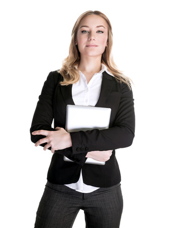 vp: Confident beautiful young business woman with laptop in hands isolated on white  Stock Photo