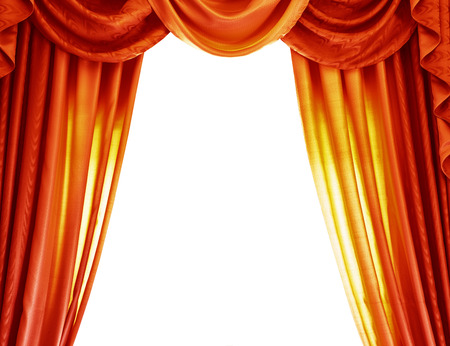 drapes: Luxury orange curtains isolated on white background, abstract border, open curtain on the theatre, theatrical performance concept