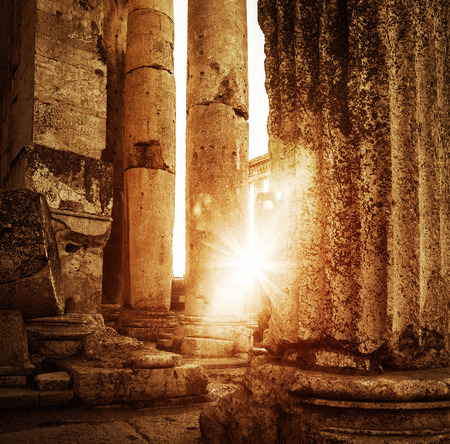 heliopolis: Jupiters temple  Baalbek, Lebanon, ancient arabian architecture, ruins of aged castle, religious building in bright sun light, grunge vintage photo Stock Photo