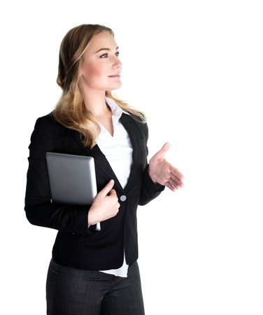 Happy business lady holding laptop and stretches out her hand for a handshake, isolated on white background, modern society, career concept  photo