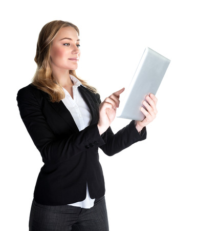 Business woman working with tablet isolated on white background, modern computer widget, internet communication, successful people concept photo