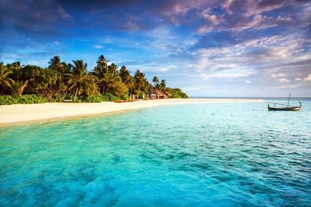 indian ocean: Beautiful tropical island, summer adventure, fishing boat in transparent blue ocean, fresh green palm trees, travel and tourism concept Editorial