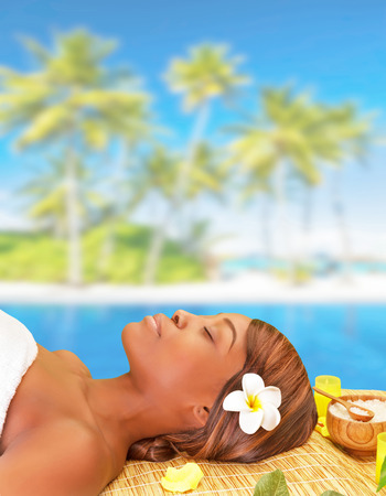 Portrait of cute african woman sleeping on massage table on the beach, enjoying day spa, luxury summer vacation, pleasure and relaxation concept photo