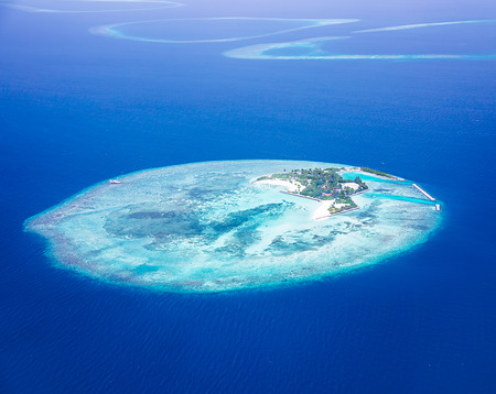 Islands aerial view, beautiful blue sea around Maldives islands, beauty of nature, exotic tourism, summer vacation, bird eye gorgeous panorama  photo