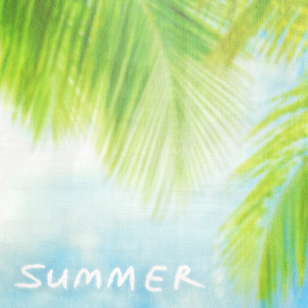 Summer vintage background, natural palm tree border, textured blur card, text space, summer holidays vacation and travel concept photo