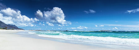 Panorama of a beach landscape, Clifton beach, Cape Town, South Africa, panoramic seascape, wonderful weather, summer vacation