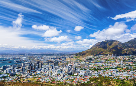Cape Town city view, traveling to  South Africa, many houses on the seashore, beautiful urban panorama, high mountains, summer vacation concept Stock Photo