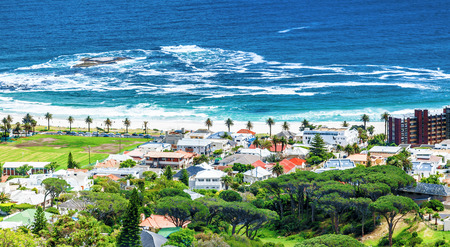 Cape Town coastline, beautiful coastal sea view,  peaceful landscape, gorgeous green town, South Africa travel and tourism  photo