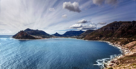 capetown: South Africa bay view, panoramic landscape of Capetown, aerial view on Atlantic sea, majestic scene of mountains, beauty of nature concept
