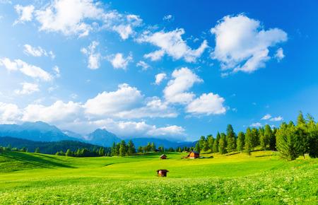 Schöne Landschaft des Tals in den alpinen Bergen, kleine Häuser in Seefeld, ländliche Szene, majestätische malerische Aussicht in sonnigen Tag