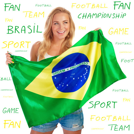 Sexy girl holding in hands Brazil flag, isolated on white background with text on it, copy space, Brazilian football team fan concept