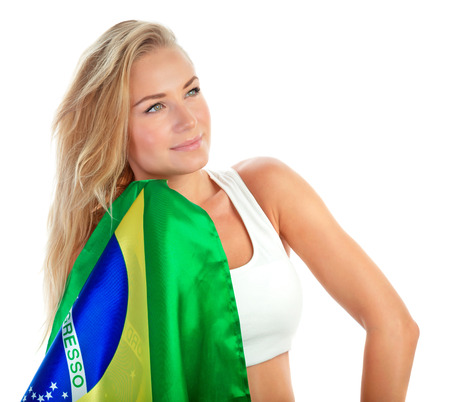 admirer: Portrait of cute admirer of Brazilian football team with their national flag isolated on white background, football championship concept