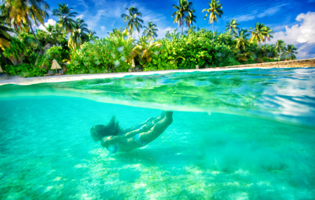 Active female swimming under water, enjoying beautiful sea nature, luxury beach resort on tropical island, summer adventure and journey concept Stock Photo - 29870443