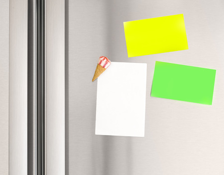 Colorful sticky notes on the fridge at home, abstract domestic background, paper for message, communication concept photo