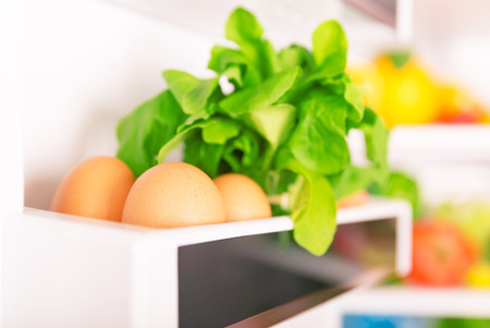 freezer: Open fridge, eggs with  fresh green rocca on the shelf of refrigerator door, organic food, healthy nutrition concept Stock Photo