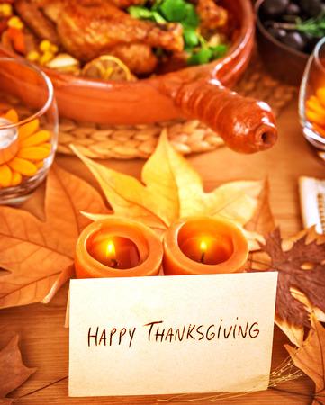 Happy Thanksgiving Grußkarte, schönes Stillleben, festliches Abendessen, feiertags party, traditionelle Feier-Konzept Standard-Bild - 30990895