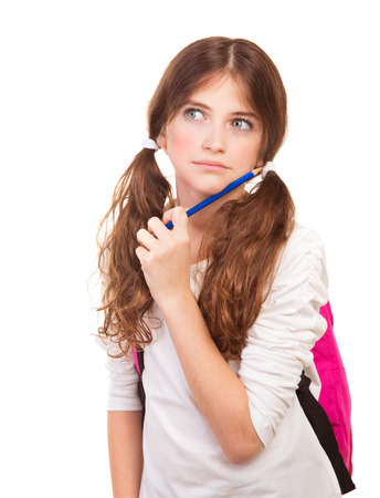 ponder: Portrait of ponder girl with pencil near face isolated on white background