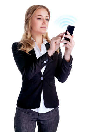 Cute blond woman try to connecting with someone using new smart phone, isolated on white background, successful business people concept  photo