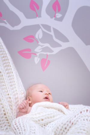 babyroom: Cute little baby lying down in bedroom, charming infant relaxing at home wrapped in white knitted blanket, happy and healthy childhood concept