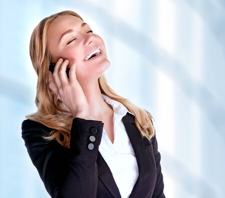 business woman phone: Closeup portrait of cheerful smiling businesswoman talking on phone, making deal, proffetional communication, business and success concept