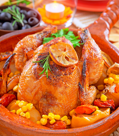 Traditional Thanksgiving dinner with tasty fried turkey as main dish, festive food in luxury restaurant, great family holiday, autumn holidays concept photo