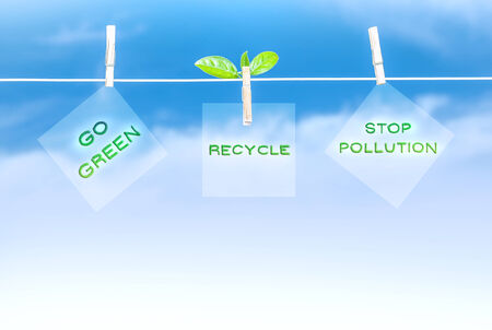 stop pollution: Three green road sign hanging on blue sky background, go green, recycling of garbage, stop pollution, save environment concept