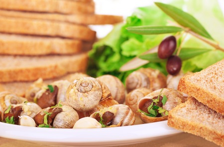 expensive food: Tasty prepared escargot with bread and olives on the plate, luxury dinner in expensive restaurant, traditional French delicatessen, delicious food concept
