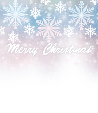wintertime: Beautiful Christmas greeting card border with wishes, falling snowflakes on blurry blue and pink background, text space, design for wintertime holidays Stock Photo