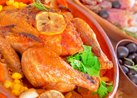 holiday food: Traditional Thanksgiving dinner with tasty fried turkey as main dish, festive food in luxury restaurant, great family holiday, autumn holidays concept
