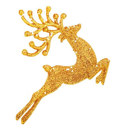 흰색 배경에 고립 된 아름 다운 황금 사슴 장난감, 작은 산타 도우미 장식, 크리스마스 트리 지팡이