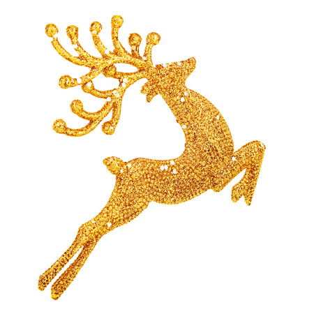 christmas reindeer: Beautiful golden reindeer toy isolated on white background, little Santa helper decoration, Christmas tree bauble