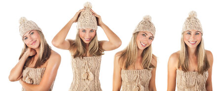 Funny collage of happy woman wearing stylish beige knitted hat and sweater isolated on white background, winter fashion concept photo