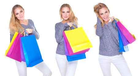 happy shopper: Happy shopper girl collage, cute female in different poses with colorful shopping bags isolated on white background, sale season concept Stock Photo