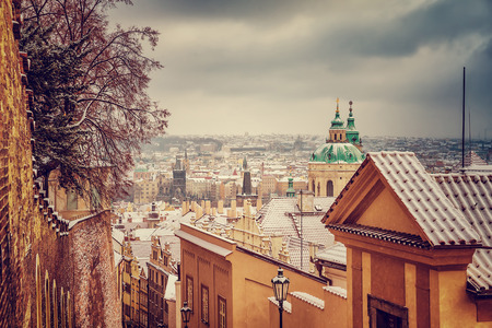 St.Nicholas church in Prague, Czech republic, beautiful architecture in baroque style, wonderful vintage cityscape in the winter