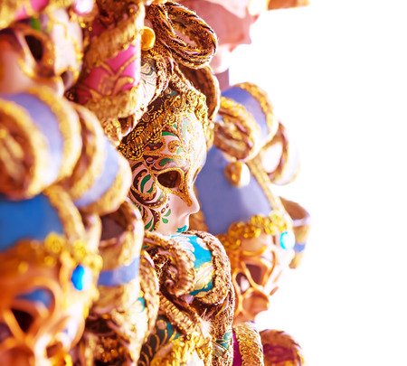 masque: Beautiful Venetian masks, abstract festive border, sales of many gorgeous decorated carnival masque, luxury masquerade accessories Stock Photo