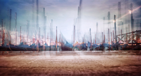 Photo with soft focus of moored Venetian gondolas, creative fine art  grunge style photo, slow motion of traditional Venice city transport, Italy photo