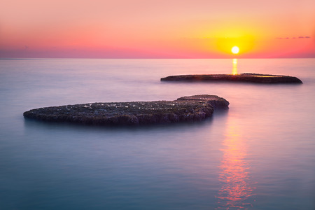 lebanon beach: Beautiful colorful sunset over sea, Lebanon, Mediterranean sea, amazing landscape, calm evening seascape, beauty of nature