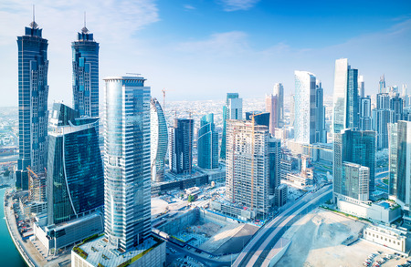 panorama city panorama: Beautiful Dubai city, bird eye view on majestic cityscape with modern new buildings, daytime panoramic scene, United Arab Emirates Stock Photo